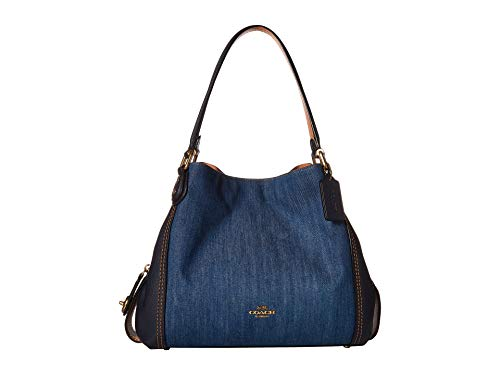 COACH Women's Denim and Leather Blocked Edie 31 Shoulder Bag Medium Denim/Brass One Size
