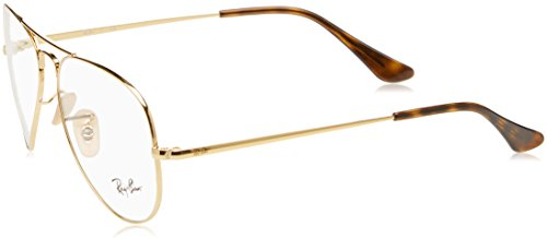 Ray-Ban RX6489 Aviator Metal Eyeglass Frames, Gold/Demo Lens, 58 ()