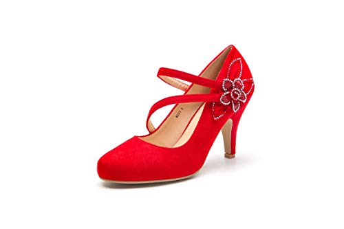 Mila Lady Mary Buckle Ankle Strap Round Toe Mid Heel Pumps for Women,Red 10