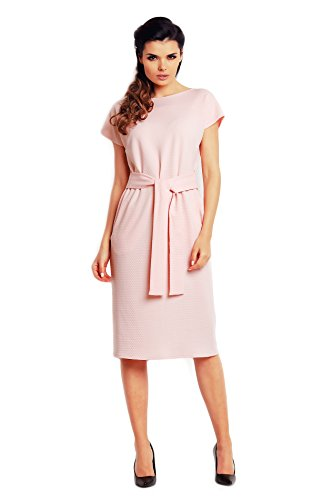mit einem Awama Midi Rosa einfaches Stoffstreifen Kleid Ein qa11rIHwf
