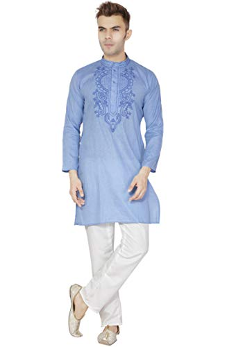 SKAVIJ Men's Cotton Tunic Kurta Pajama Set Evening Dress (Large, Blue) (Best Pakistani Wedding Dresses 2019)