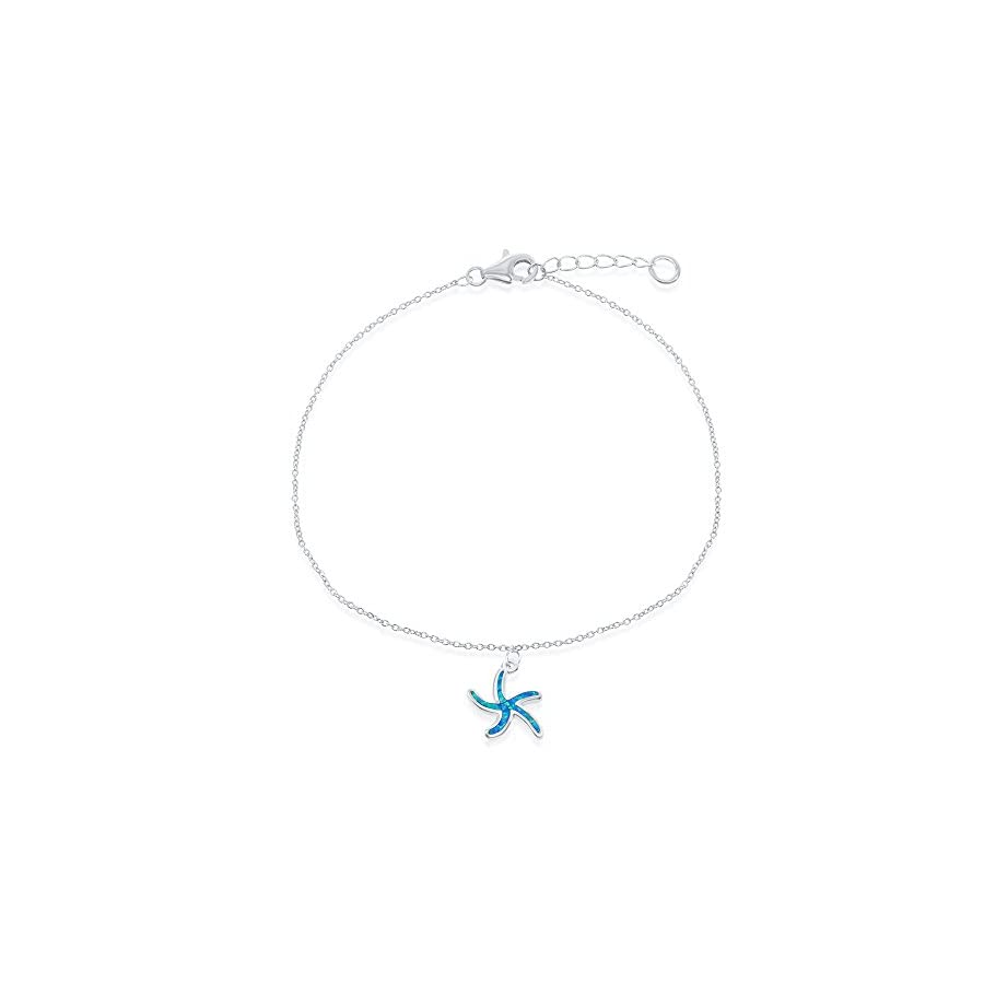 """Sterling Silver w/ Created Blue Opal Starfish/Turtle/Dolphin/Seashell/Anchor/Palm Tree 9+1"""" Nautical Anklet Bracelet"""