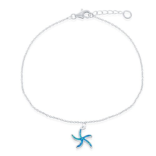 Sterling Silver w/ Created Blue Opal Starfish Adjustable 9+1