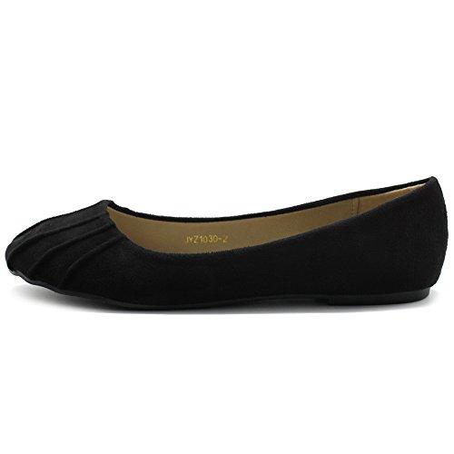 Black Flat Ollio Women's Faux Suede Shoe Ballet Comfort YxH0Y8