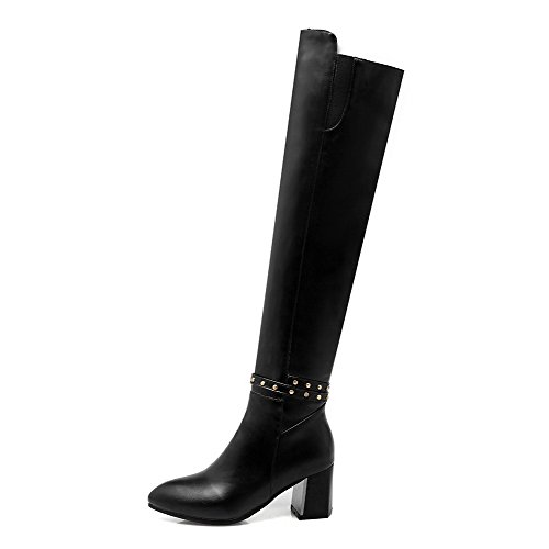Black Boots Zipper Heels Kitten Pointed Women's PU Solid Closed Toe WeenFashion gzvF6qx