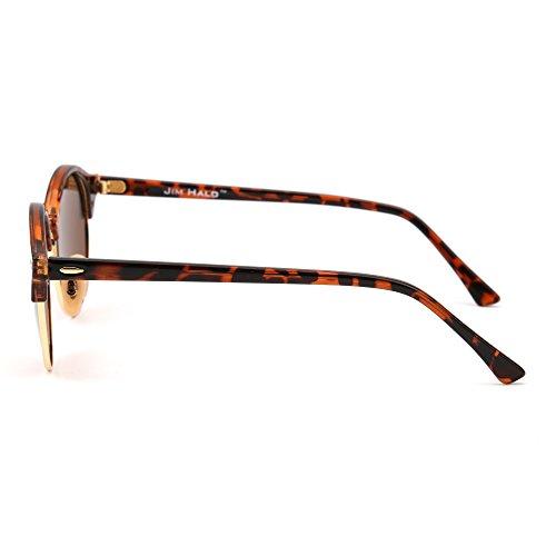 Semi Sol Carey Mujer Sin Marrón Retro de Browline Polarizadas Para Hombre Polarizado Gafas Redondas Marco qExHa8Rp
