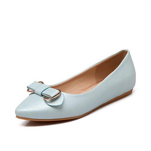 Balamasa Filles Métal Bowknot Pull-on Matériau Souple Appartements-chaussures Bleu