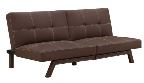 DHP Delaney Splitback Futon Compact Modern Design, Brown For Sale