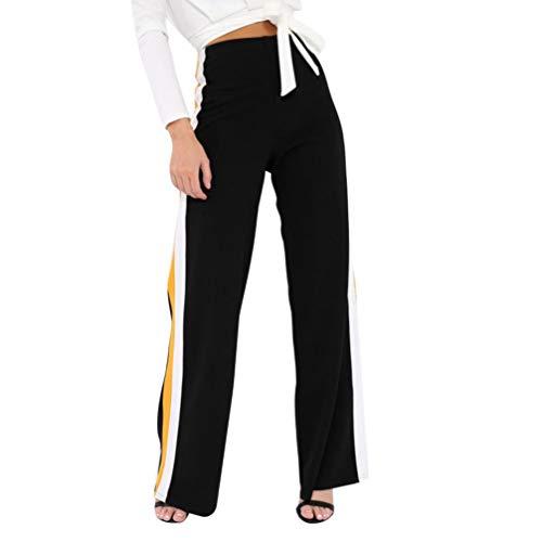 - BODOAO Womens Casual Pants Long Trousers Side Striped High Waist Wide Leg Yoga