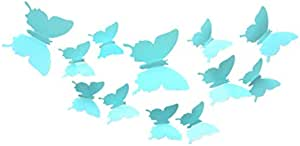 12pcs 3D Butterfly Removable Mural Stickers Wall Stickers Decal for Home and Room Decoration(Blue)