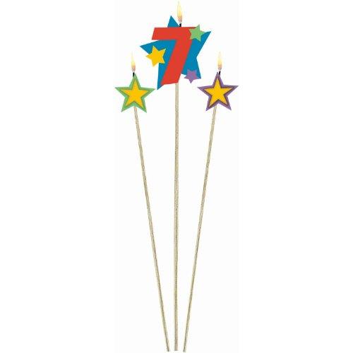 Amscan Birthday Celebration, #7 Decorative Pick Candles, Party