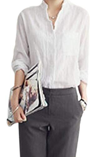 Tops Automne Blouse Printemps Vintage Manche Dame Blanc Spcial Longues Style Manches Jeune Haut Mode Simple Lin Bouffant Chemisiers Elgante Uni Chemise Boutonnage Femme Loisir 8Uwx4dHqx