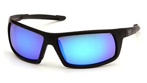 Frame Blue Ice Lens - Venture Gear Stonewall Safety Sunglasses, Black, Ice Blue Mirror Anti-Fog Lens