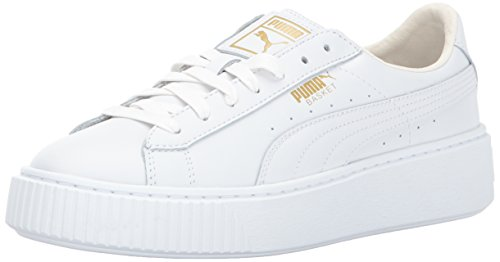 Puma White Shoes (PUMA Women's Basket Platform Core Sneaker, White-Gold,7.5 M US)