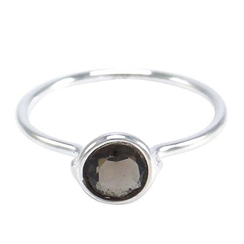 Banithani pur argent sterling 925 facettes topaze fumée anneau de pierre bijoux