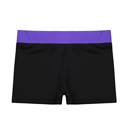 iEFiEL Kids Girls Ballet Dance Booty Shorts Sports Gym Workout Yoga Cycling Running Activewear Shorts Purple&Black 6