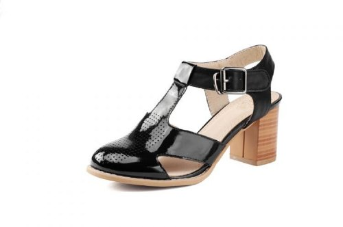 Charm Foot Vintage T Strap Womens Midheck Casual Sandalen Zwart