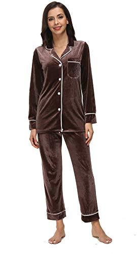 - Kiddom Womens Velvet Pajamas Set Loungewear Warm Fleece Winter Autumn Long Sleeve Sleepwear with Pockets Gray