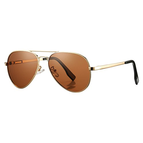 Aviator Sunglasses for Kids Juniors Small Face Women Men Vintage Polarized UV400 Protection Shades with Case(Gold Frame/Brown - Best For Face Small Glasses
