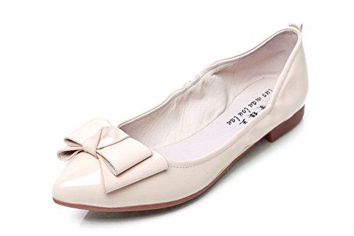 Amoonyfashion Femmes Pointu Bout Fermé En Cuir Verni Pull-sur-talon Pompes-chaussures Abricot
