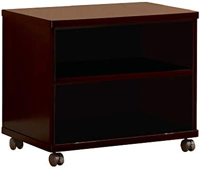 Benzara Transitional Style Wooden TV Media Cart with 2 Open Shelves and Casters, Brown