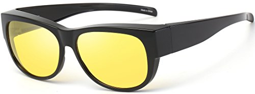CAXMAN HD Night Vision Polarized Fit Over Glasses Sunglasses for Prescription Glasses, Medium Size, Black Frame with Amber Yellow Lens, 100% UV Protection