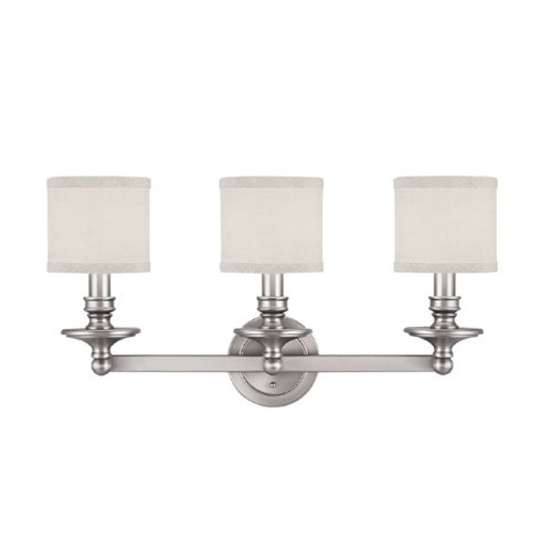 Capital Lighting 1238MN-451 Vanity with White Fabric Shades, Matte Nickel Finish