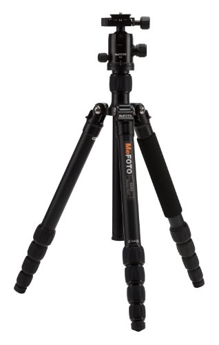 MeFOTO GlobeTrotter Classic 64.2 Aluminum Travel Tripod/Monopod w/Case, Twist Locks, Triple Action Ballhead w/Arca Swiss Plate for Mirrorless/DSLR Sony Nikon Canon Fuji - Black (A2350Q2K)