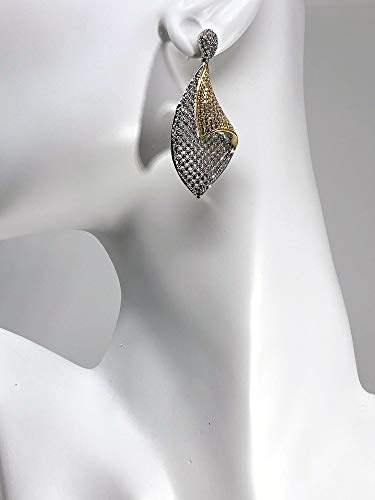 COCHÉ JEWELRY Sari Wrap Earrings Indian Inspired Rhodium-Plated Brass CZ Accent Earrings with 24K Gold Veneering