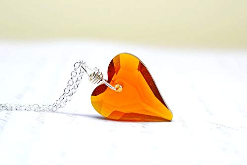 Cool Brown Heart Crystal Necklace, Caramel Color Crystal Pendant, Mothers Day Gifts, Cognac Dark Topaz Wire Wrap ()