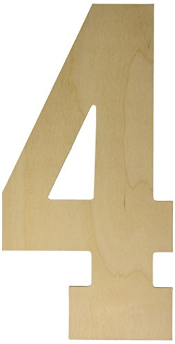 MPI Baltic Birch Collegiate Font Letters and Numbers, 13.5-Inch, Number-4