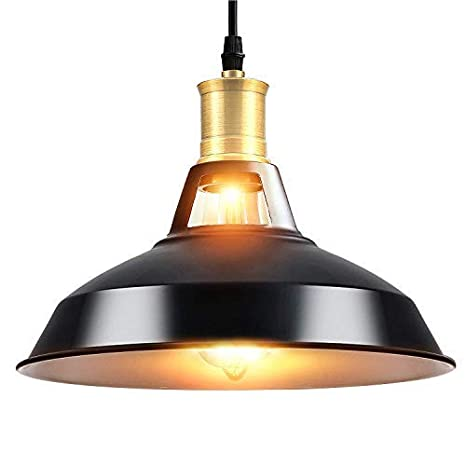 Maxmer Lámpara Vintage Colgante Luz Industrial Lámpara de Techo Retro, Color Negro
