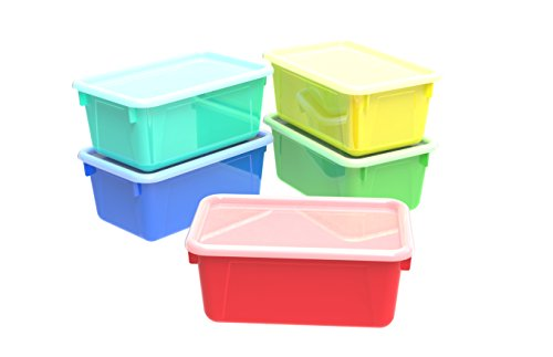 Storex Small Cubby Bins with Covers, 12.2 x 7.8 x 5.1 Inches, Assorted Colors, Case of 5 -