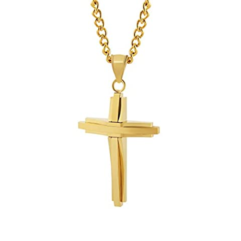 HZMAN Mens Polished Stainless Steel Gold Cross Pendant Necklace 24 Inches Chain (Gold Cross Stainless Steel)