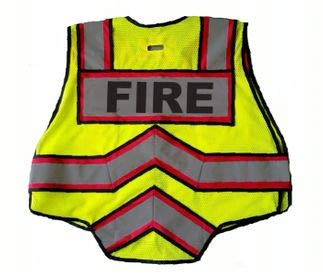 FIRE NINJA FIRE VEST-Class 2 Reflective - High Visibility Public Safety Vest - Bright Neon Reflective Colors - Double Breakaway Zipper - For Fire and Public Saftey Departments ()