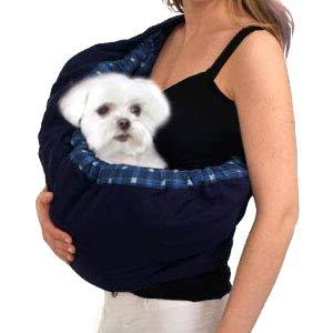 OrgMemory Pet Sling Carrier, Adjustable Sling Bag, Dog Cat Outdoor Shoulder Carrier Bag (Blue Plaid)