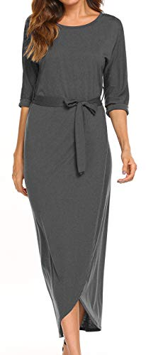 LuckyMore Women's Maxi Dresses Autumn 3/4 Sleeve Casual Tunic Long Maxi Dress Dark Gray L (3/4 Sleeve Tunic Wrap)