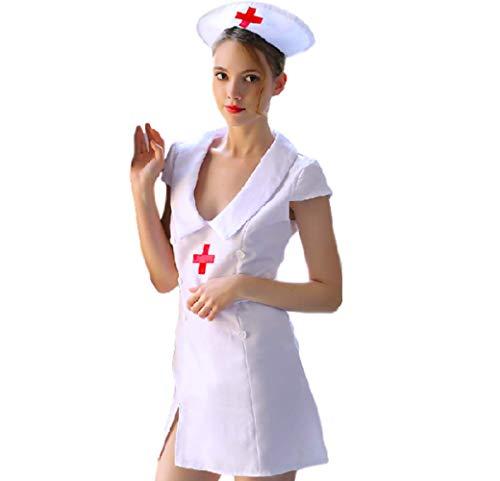 Moon Market Women Sexy Nurse Cosplay Costume Lingerie Roleplaying (L) Yukata wrap Corset Openback Thong Nightgown Sleepwear Bodystocking Clubwear Night Thong Babydoll Teddy Play Stocking Fishnet