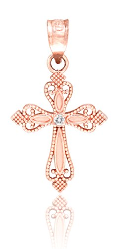 Honolulu Jewelry Company 14K Rose Gold Cross Necklace Pendant with Diamond