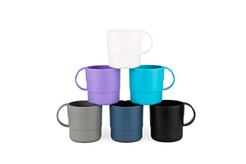 (Amuse- Eco Friendly Sturdy Unbreakable & Stackable Mugs for Water, Coffee, Milk, Juice, Tea- Set of 6-11 oz (Assorted Colors II))