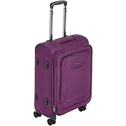 AmazonBasics Expandable Softside Carry-On Spinner Luggage Suitcase With TSA Lock And Wheels - 21 Inch, Purple