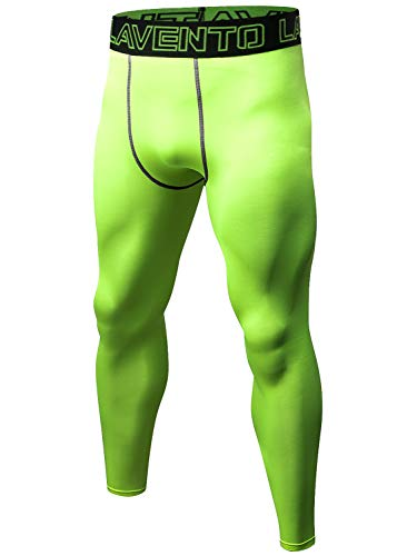Lavento Men's Compression Pants Cool Dry Workout Tights (1 Pack-L1010 Yellow Green,Large)