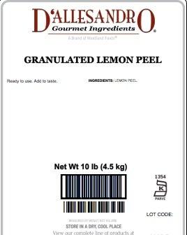 Lemon Peel, Granulated - 10 Lb Bag / Box Each