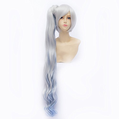 [LanTing Cosplay Wig RWBY White Trailer Weiss Schnee Blue Mix Long Wigs Styled Frauen Cosplay Party Fashion Anime Human Costume Full wigs Synthetic Hair Heat Resistant] (Female Flasher Adult Costumes)