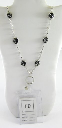 Designer Inspired Women's Silver ID Badge Lanyard Necklace with Rose Motif & Quality PVC ID Pouch