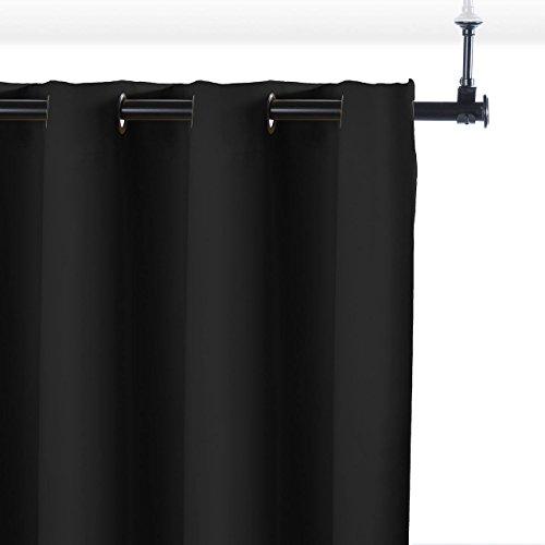 RoomDividersNow Premium Heavyweight Hanging Room Divider Kit - Medium B, 9ft Tall x 4ft 8in - 9ft Wide (Midnight Black)