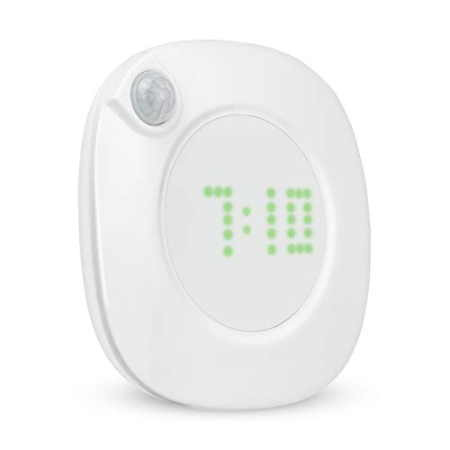Makion Motion Sensor Night Light with Clock Display and Dusk to Dawn Sensor, 8pcs Both Warm & Cool White LEDs with 600mAh Built-in Chargeable and Adjustable Brightness Light for Hallway,Bedroom etc