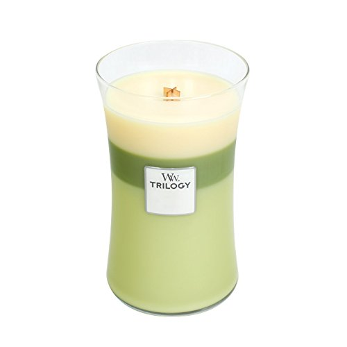 - WoodWick Trilogy Garden Oasis, 3-in-1 Highly Scented Candle, Classic Hourglass Jar, Large 7-inch, 21.5 oz