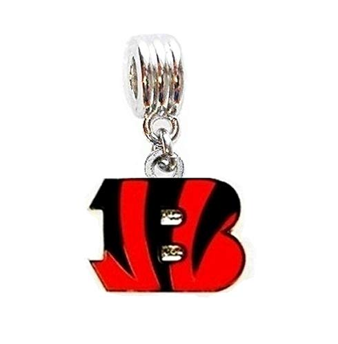 Heavens Jewelry Cincinnati Bengals Football Charm Slide Pendant for Your Necklace European Charm Bracelet (Fits Most Name Brands) DIY Projects ETC