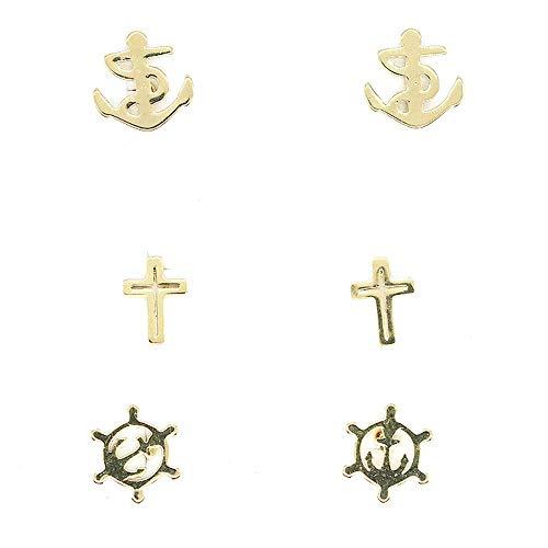 3 Pairs Stainless Steel Tiny Stud Earrings Earrings Geometric Stud Earring Set for Women Ear Piercing Jewelry Set Bar Design for Girls Women (wheel anchor cross)